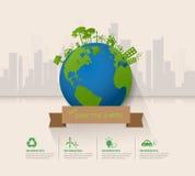 Lassen Sie uns die Erde, Ökologiekonzept infographics retten Lizenzfreie Stockfotografie