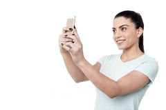 Lassen Sie uns ein selfie nehmen! Stockbilder