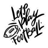 Lassen Sie uns Fußball und Ballfleckenvektorillustration spielen stock abbildung