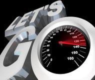 Lassen Sie uns gehen Geschwindigkeitsmesser erregtes betriebsbereites, Anfang anzufangen Stockfoto