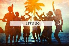 Lassen Sie uns gehen Sommer-Freiheits-Glück-Konzept Stockbilder