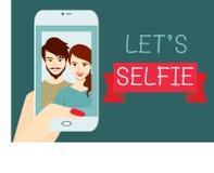 Lassen Sie uns SelbstiE Ein Paar, das zusammen selfie nimmt Flaches Design Lizenzfreies Stockfoto