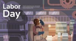 Lasser Working Big Mechanism, Ingenieur Factory Interior, Internationale Dag van de Arbeid stock illustratie