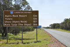 Lasseter Highway Road Sign - Northern Territory - Australia Royalty Free Stock Photography