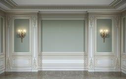 lassic binnenland in olijfkleuren met houten muurpanelen, blakers en gebied het 3d teruggeven Royalty-vrije Stock Foto