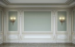 lassic binnenland in olijfkleuren met houten muurpanelen en blakers het 3d teruggeven Royalty-vrije Stock Afbeelding