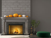 Сlassic fireplace  and green pouf Stock Photography