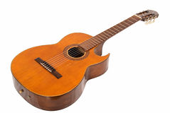 сlassical guitar with cut body. Acoustic guitar on the white background Royalty Free Stock Images