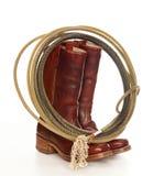 lasso ковбоя ботинок коричневый стоковое изображение rf