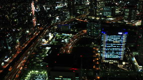 lasso di tempo aereo 4K della città di Yokohama, Giappone stock footage