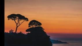 Lasso di tempo, bella regolazione del sole di tramonto dietro gli alberi sulle colline dell'Italia a Sorrento, posto della rafia  video d archivio