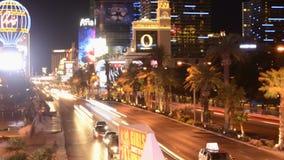 Lasso di tempo della striscia di Las Vegas alla notte archivi video