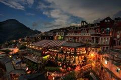 Lasso di tempo delle case da tè di Hillside in Jiufen, Taiwan immagine stock libera da diritti