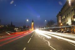 Lasso di tempo di Big Ben alla notte a Londra Fotografia Stock