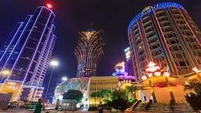 Lasso di tempo di paesaggio urbano di notte del casinò di Macao video d archivio