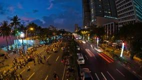 Lasso di tempo di traffico pedonale della città Manila stock footage