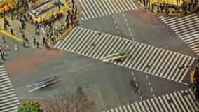 Lasso di tempo di traffico pedonale della città Tokyo Shibuya qui sopra