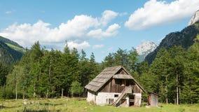 Lasso di tempo di vecchia capanna alpina - fattoria con il prato ed il legno nelle alpi, kot di Robanov, Slovenia video d archivio