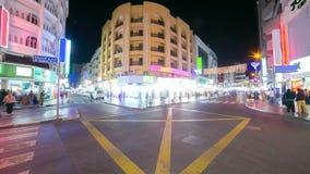 Lasso di tempo di vita 4k di deira di notte dalla Dubai stock footage