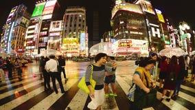 Lasso di tempo - distretto di spettacolo di Shinjuku alla notte - Tokyo Giappone archivi video