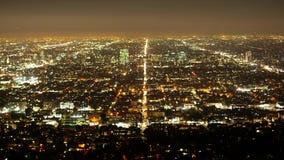 Lasso di tempo sparato della città di Los Angeles di notte archivi video