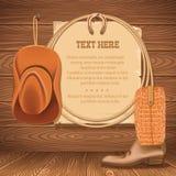 Lasso för cowboyhatt och amerikan Gammalt papper för vektor för text på trä Royaltyfri Fotografi