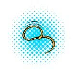 Lasso icon, comics style. Lasso icon in comics style on a white background vector illustration