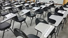 Lassroom education. Background empty school class lecture room interior view, no teacher nor student Stock Images