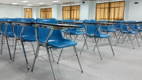 Lassroom education. Background empty school class lecture room interior view, no teacher nor student Stock Photography