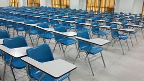 Lassroom education. Background empty school class lecture room interior view, no teacher nor student Stock Photo