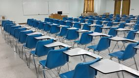 Lassroom education. Background empty school class lecture room interior view, no teacher nor student Royalty Free Stock Photos