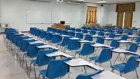 Lassroom education. Background empty school class lecture room interior view, no teacher nor student Royalty Free Stock Images