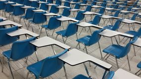 Lassroom education. Background empty school class lecture room interior view, no teacher nor student Royalty Free Stock Photography
