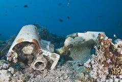 last återstår undervattens- skeppsbrott Arkivbilder