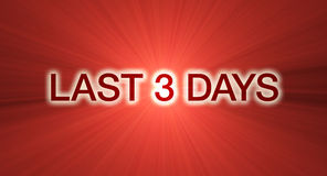 Last 3 days sale banner in red Stock Image