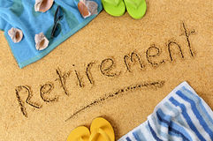 Retirement plan beach vacation word writing concept Stock Photos