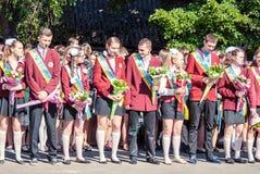 Last bell Lutsk 11th grade high school 14 29.05.2015 sunny summer day. Last bell Lutsk 11th grade high school 14 celebration was held in Lutsk Volyn Region Royalty Free Stock Images