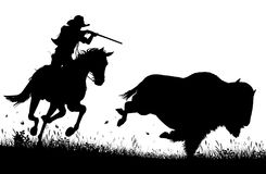 Last bison. Editable vector silhouette of a cowboy on horseback chasing and about to shoot an American buffalo Stock Photography
