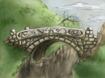 The last bridge. It's a fantasy-looking stone bridge with two dragons carved on it Stock Image