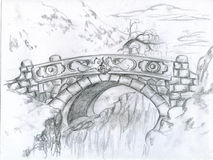 The last bridge. It's a fantasy-looking stone bridge with two dragons carved on it. Pencil drawing Stock Images