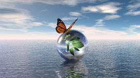 Last butterfly. Illustration last butterfly on water Royalty Free Stock Photo
