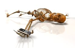 Last Call. Skeleton with Mobile Phone. Last Call wiht Handy Royalty Free Stock Image
