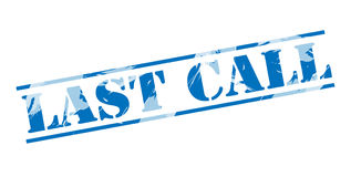 Last call blue stamp. Isolated on white background Stock Image