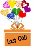 LAST CALL on gift box with multicoloured hearts. Illustration concept Royalty Free Stock Images