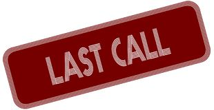 LAST CALL on red label. Royalty Free Stock Photo