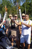Last carriers of Olympic Rio2016 torch relay Stock Photo