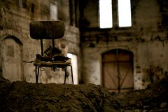 Last chair in post - apocalyptic world. stock images