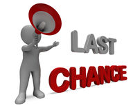 Last Chance Character Shows Warning Final Opportunity Or Act Now. Last Chance Character Showing Warning Final Opportunity Or Act Now Stock Image