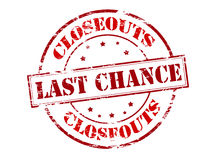 Last chance closeouts. Rubber stamp with text last chance closeouts inside,  illustration Royalty Free Stock Photos