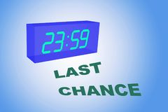 LAST CHANCE concept. 3D illustration of LAST CHANCE title below a clock with pale blue gradient as a background Stock Photography